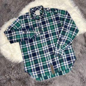 Billy Reid Green & Blue Plaid Casual Dress Shirt